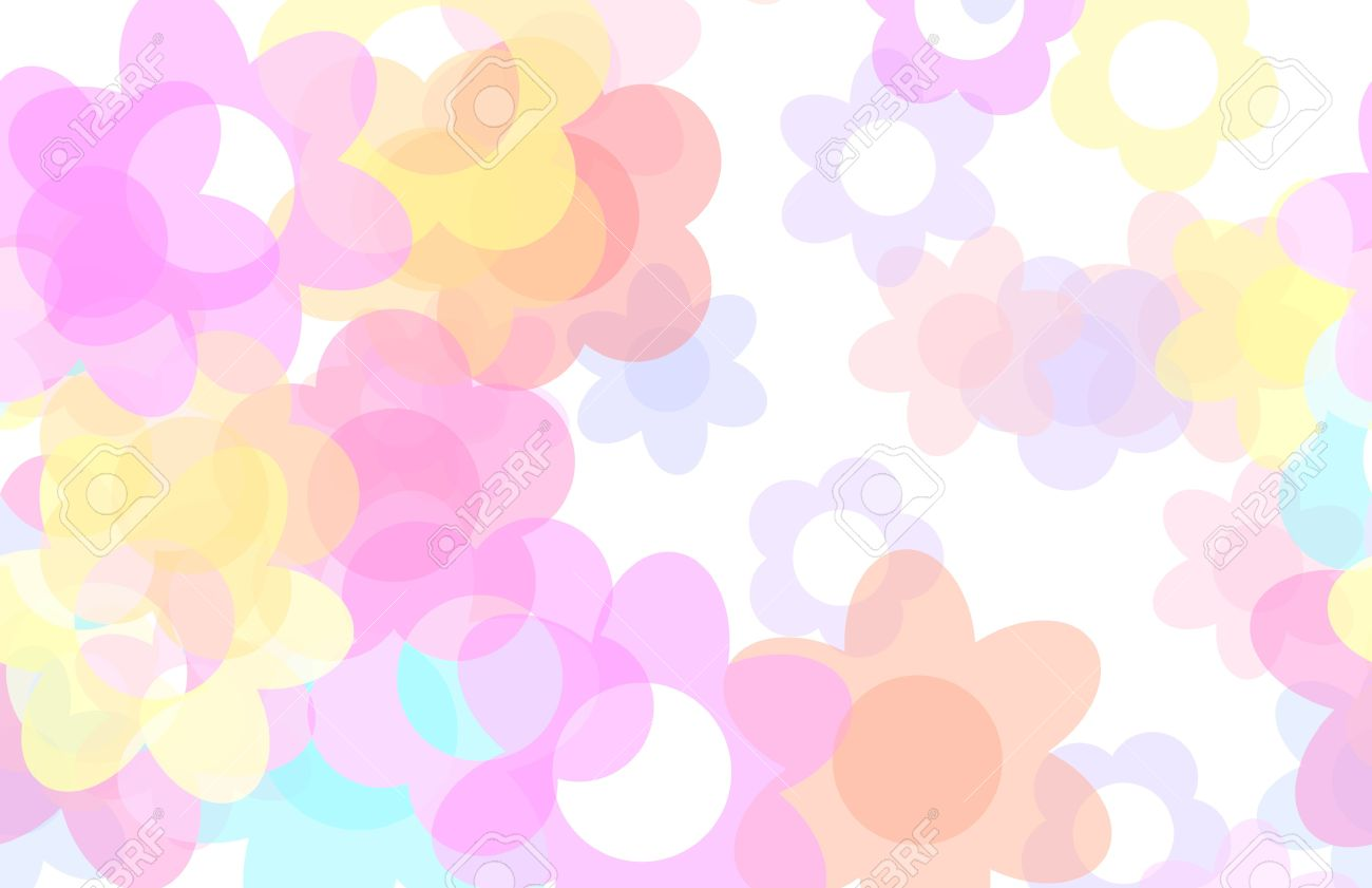 Cute Cartoon Flowers Background With Floral Art Stock Photo Picture