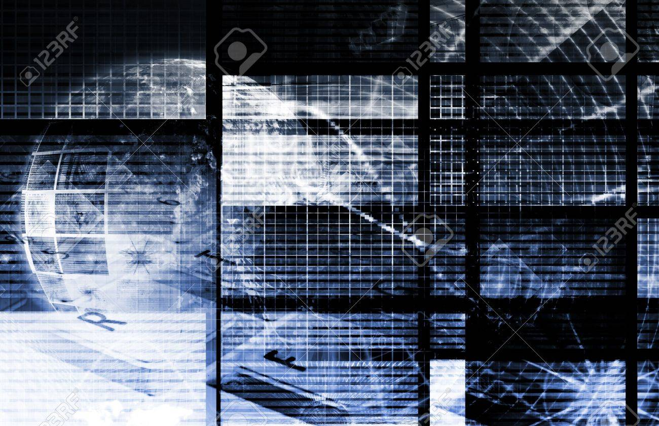 Blue Technology Collage as a Digital Background Stock Photo - 6718145
