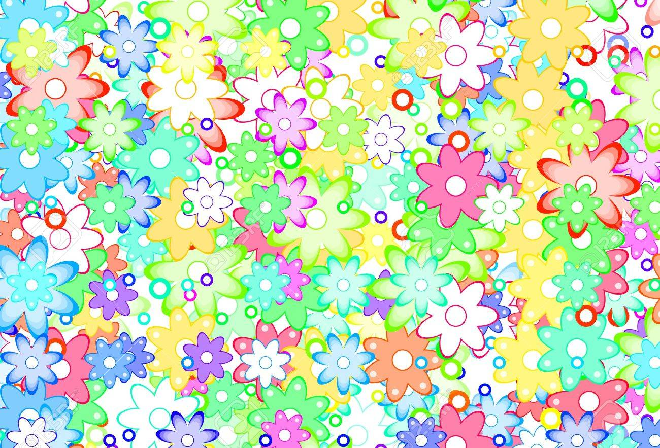 Art De Dessin Animé Cute Fleurs Simple Couleur Arrière Plan
