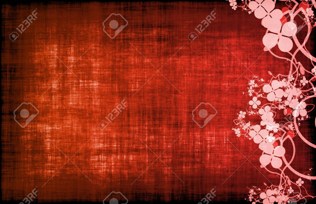 Red Grunge Floral Decor Old Texture Background Stock Photo - 7107165