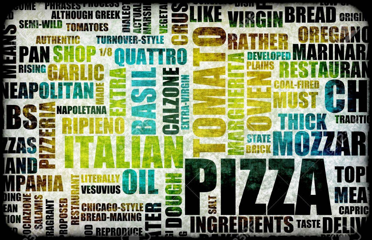 Pizza Menu as Concept Background with Toppings Stock Photo - 7162634