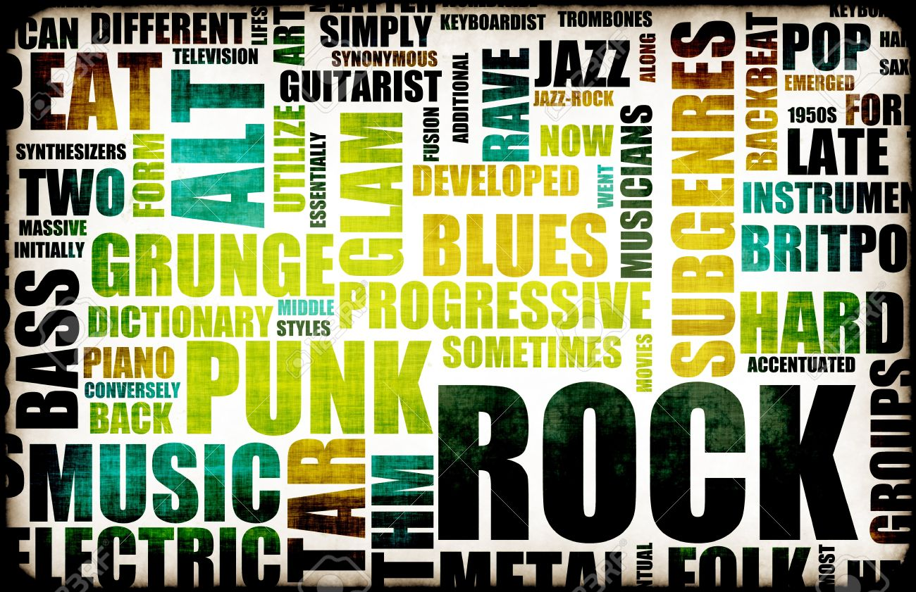 Rock Music Poster Art As Grunge Background Stock Photo, Picture ...