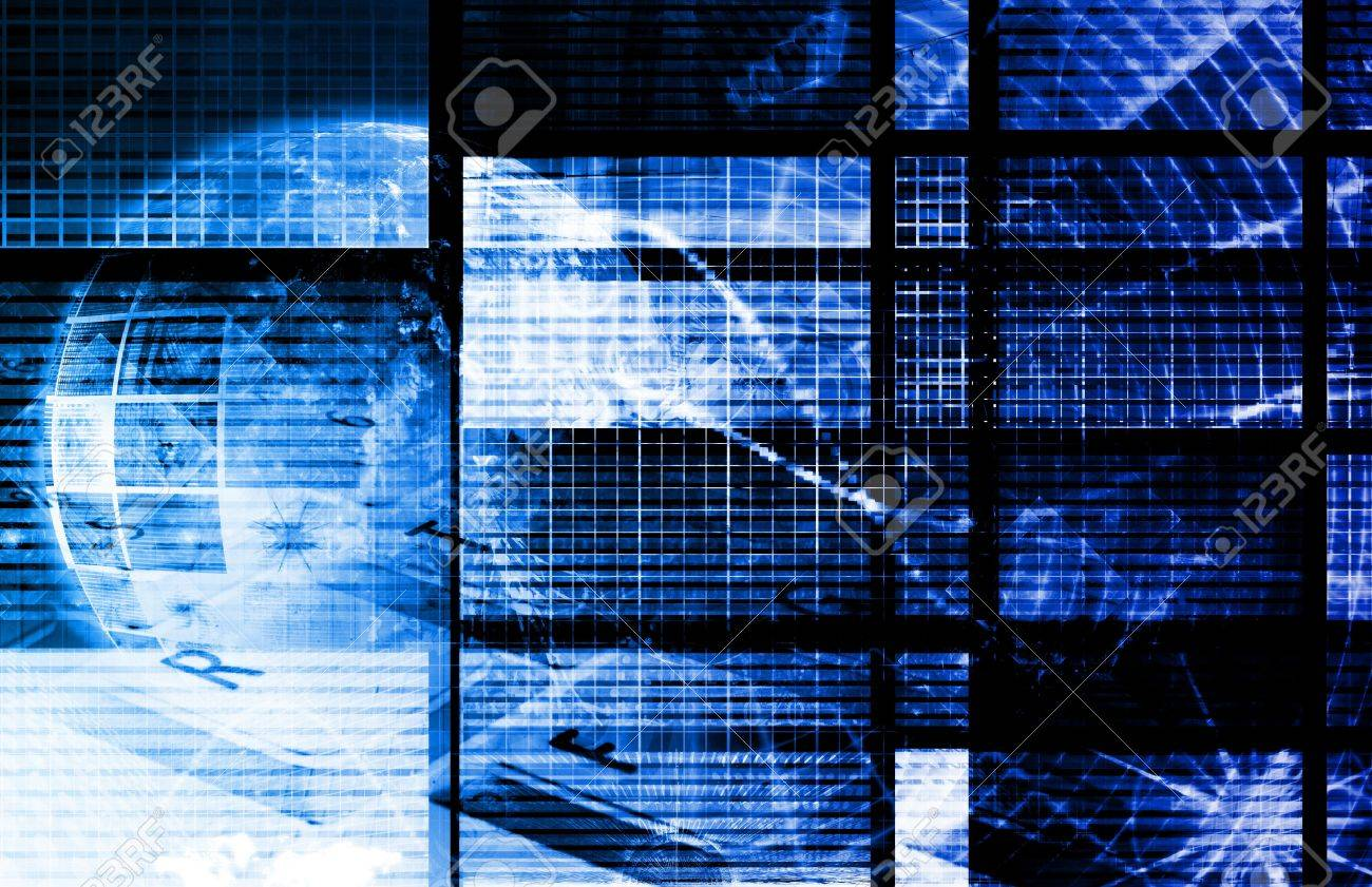 Blue Digital Data Transfer Network as Abstract Stock Photo - 7635774
