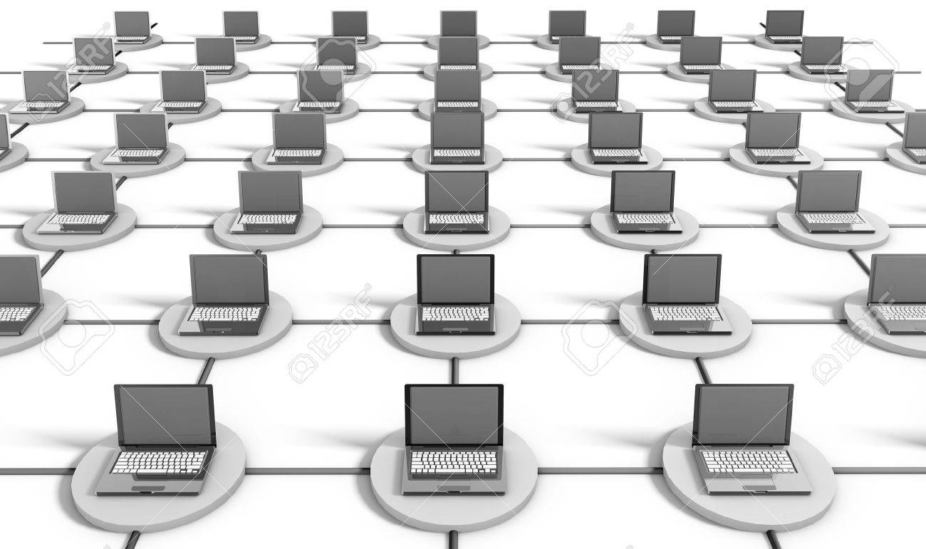 Computer Network on the Internet with PCs Stock Photo - 8663438