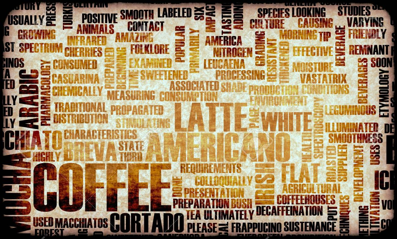 Coffee Varieties And Other Beverages Types Art Stock Photo, Picture ...