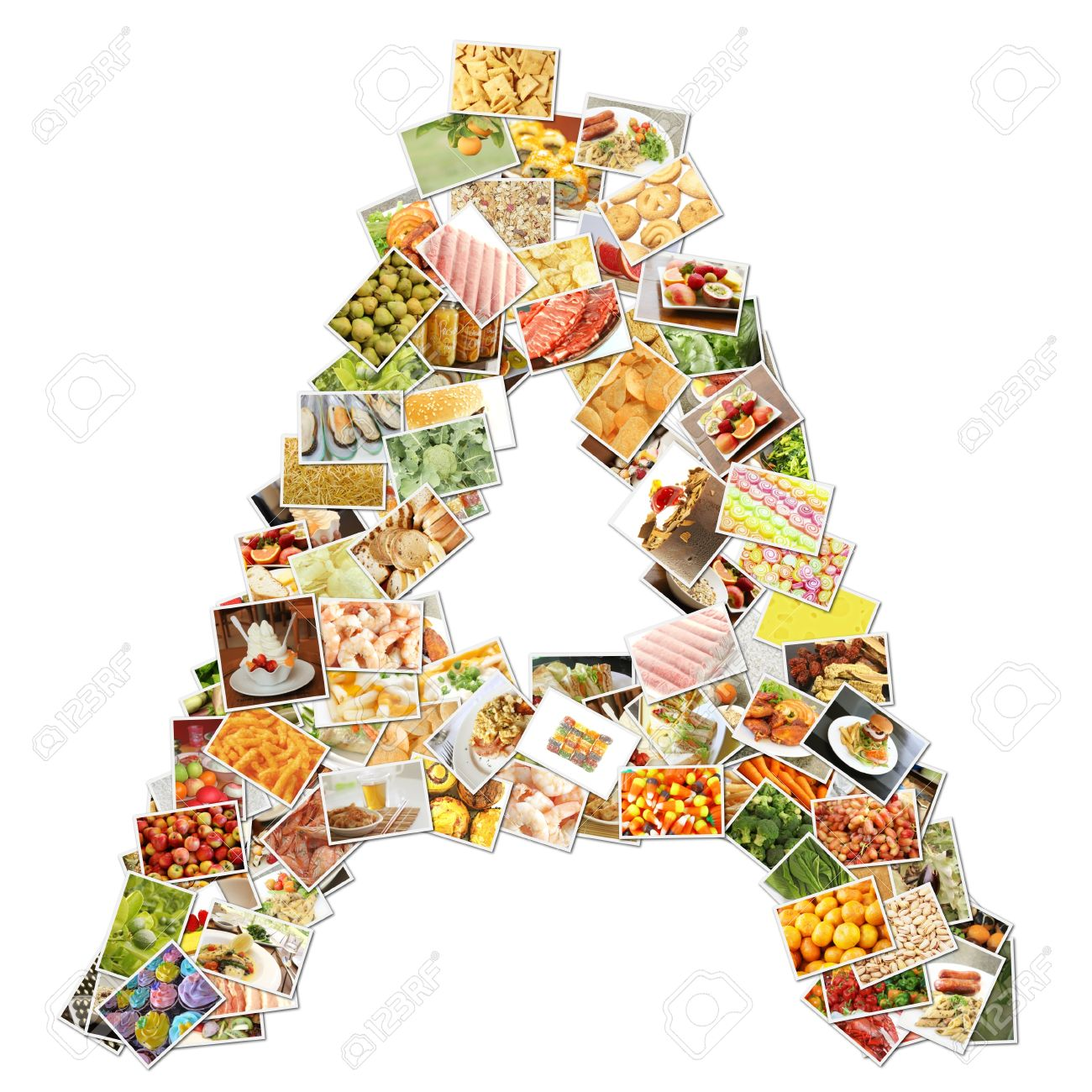 letter a food collage concept art stock photo picture and letter a food collage concept art stock photo 9691847