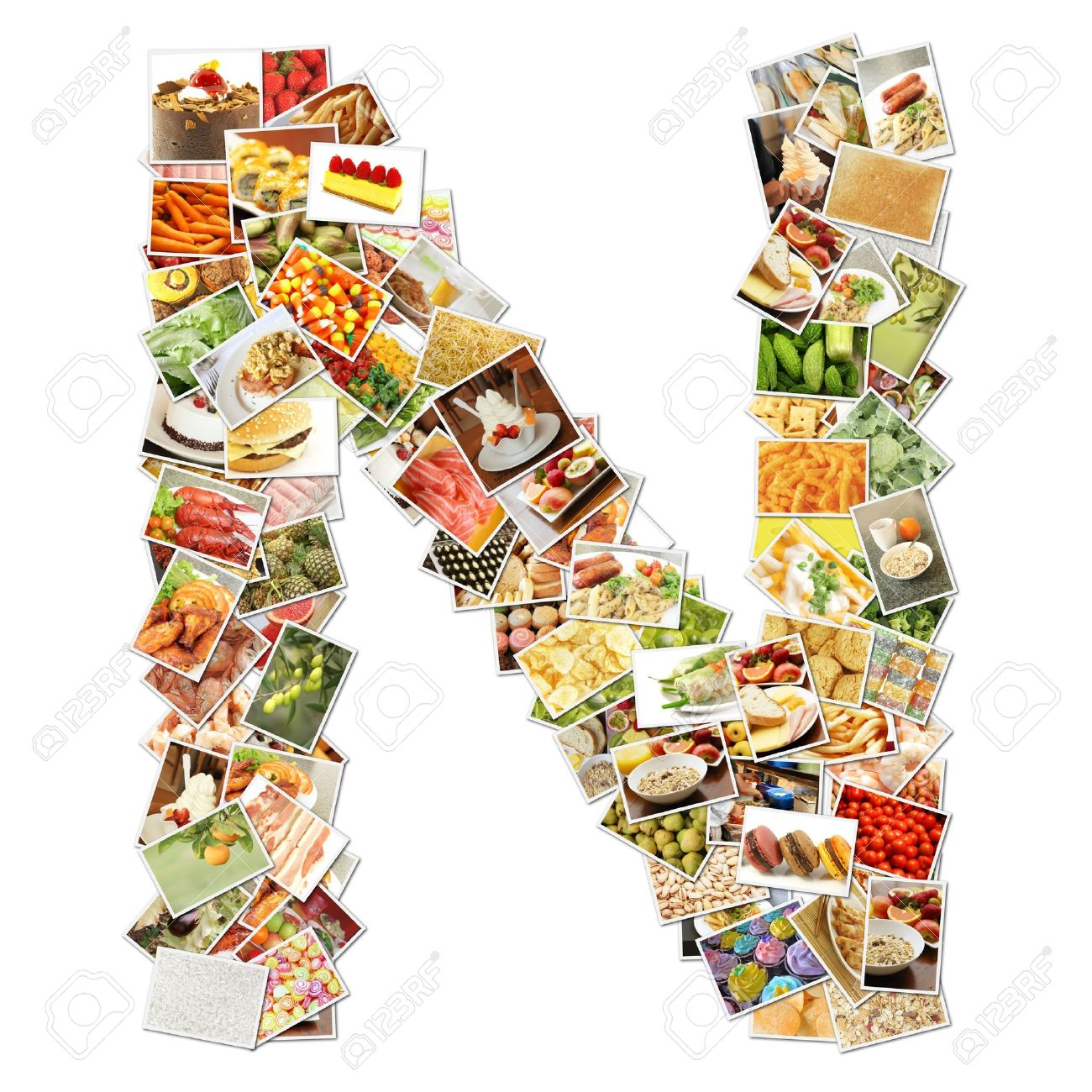 Letter N with Food Collage Concept Art Stock Photo - 9691831