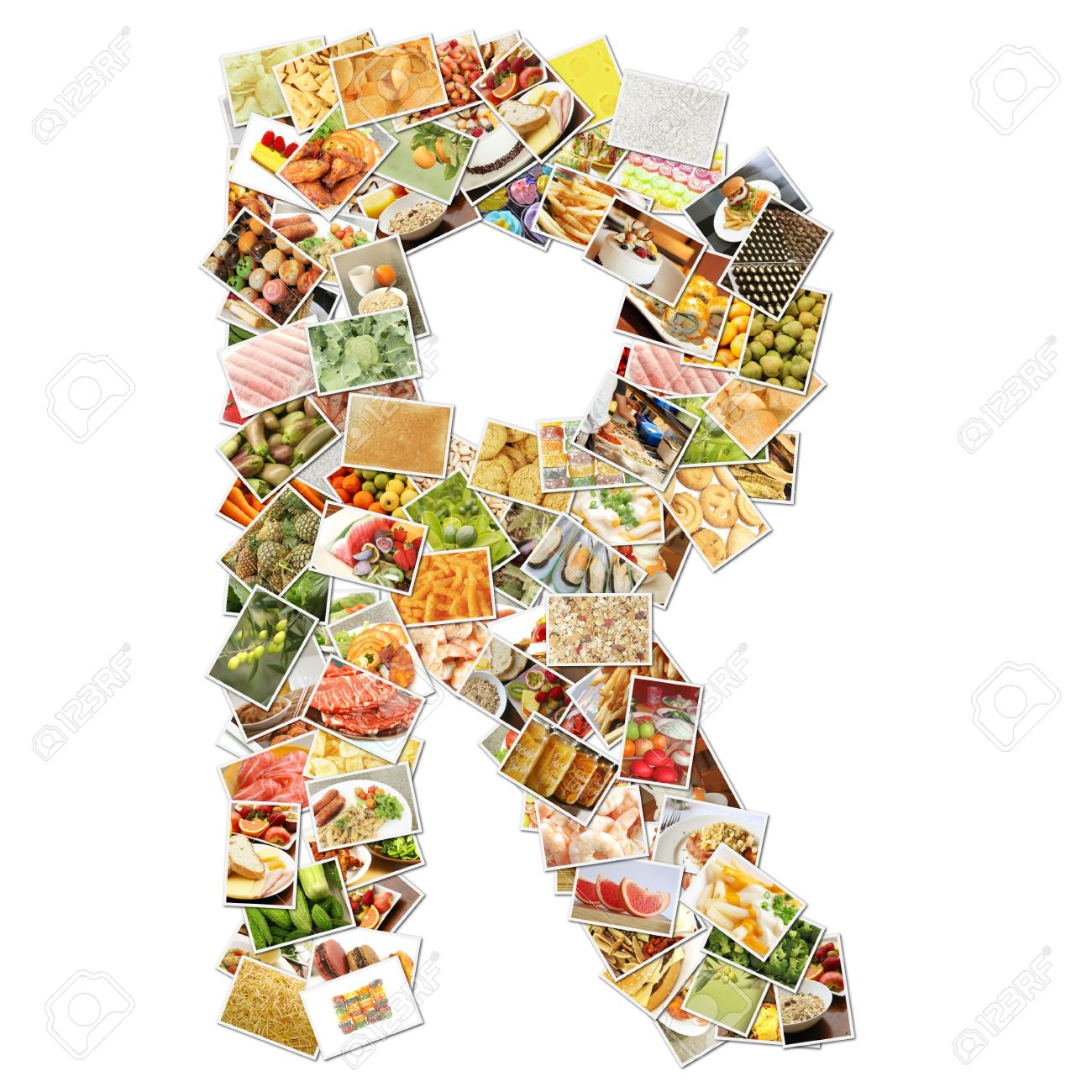 letter r with food collage concept art stock photo picture and