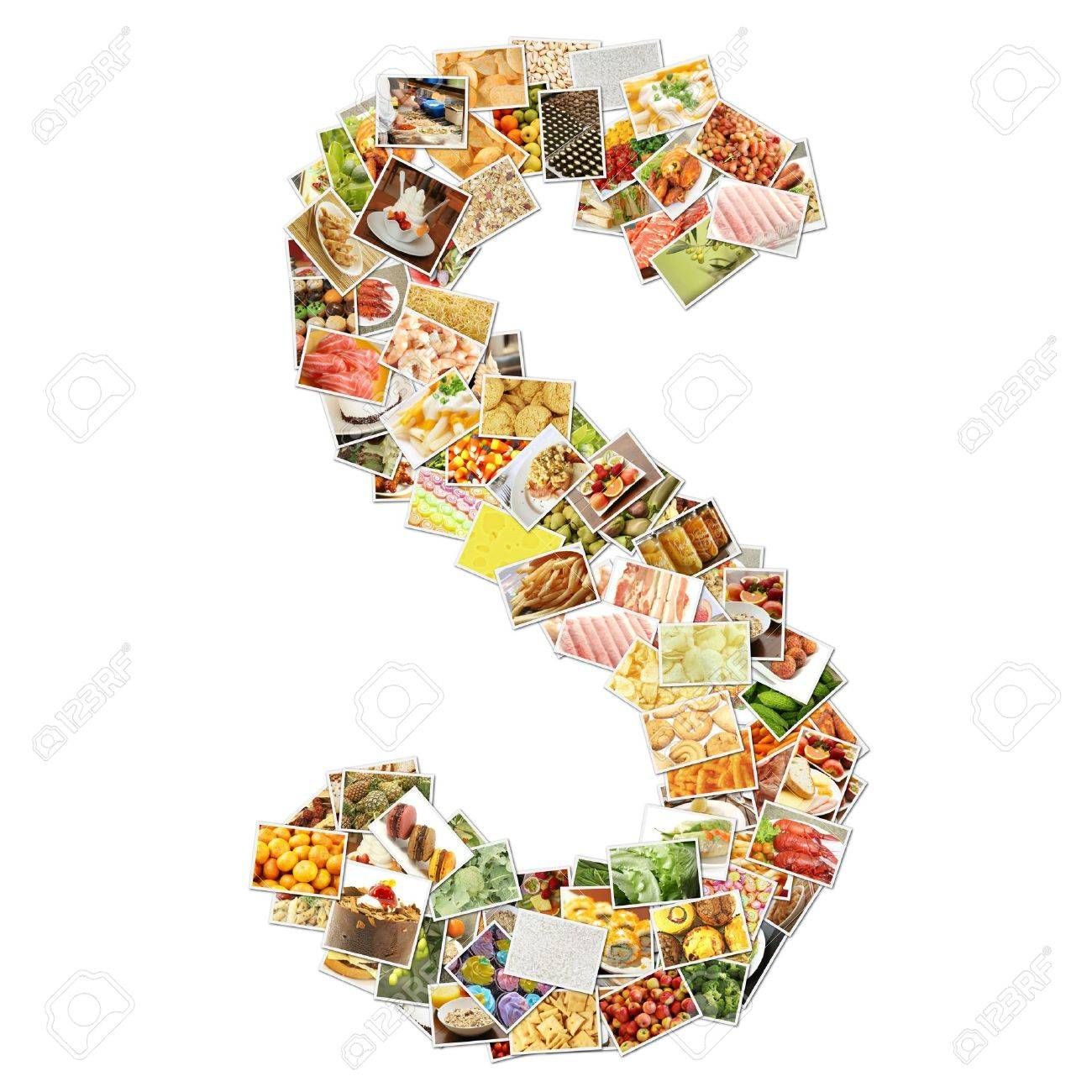 Letter S with Food Collage Concept Art Stock Photo - 9691836