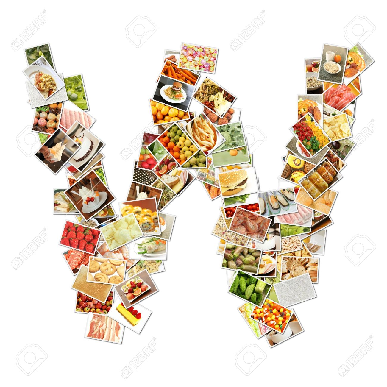 letter w food collage concept art stock photo picture and letter w food collage concept art stock photo 9691845