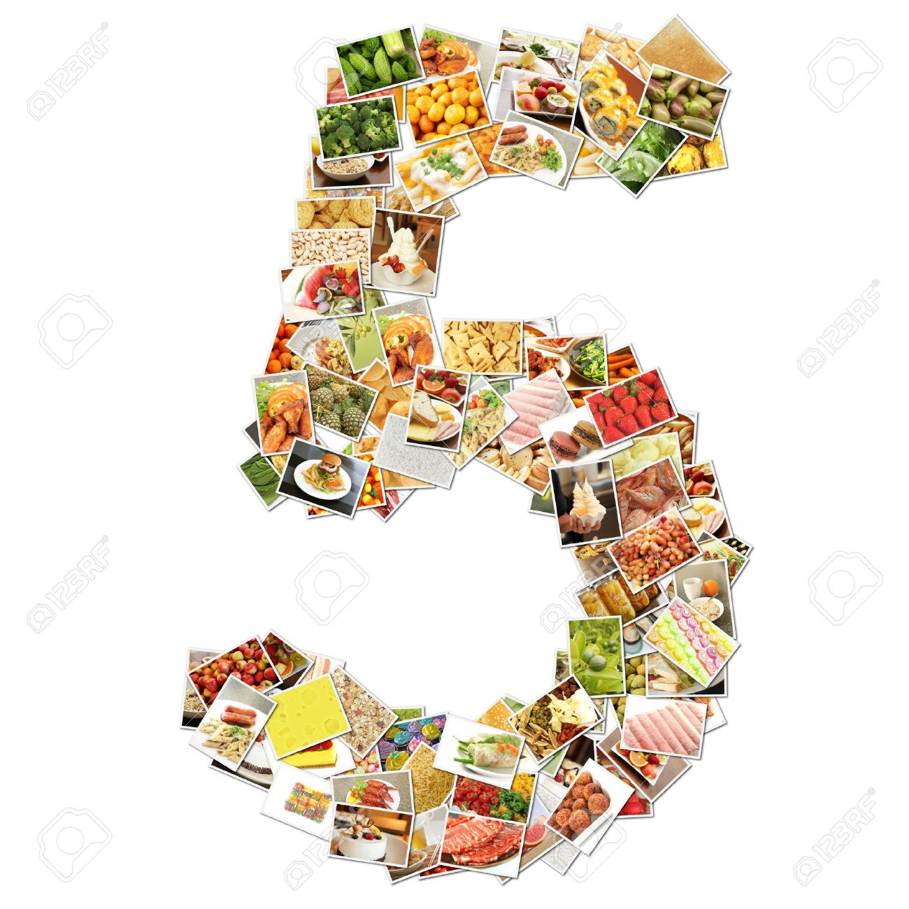 Number 5 Five with Food Collage Concept Art Stock Photo - 9704306