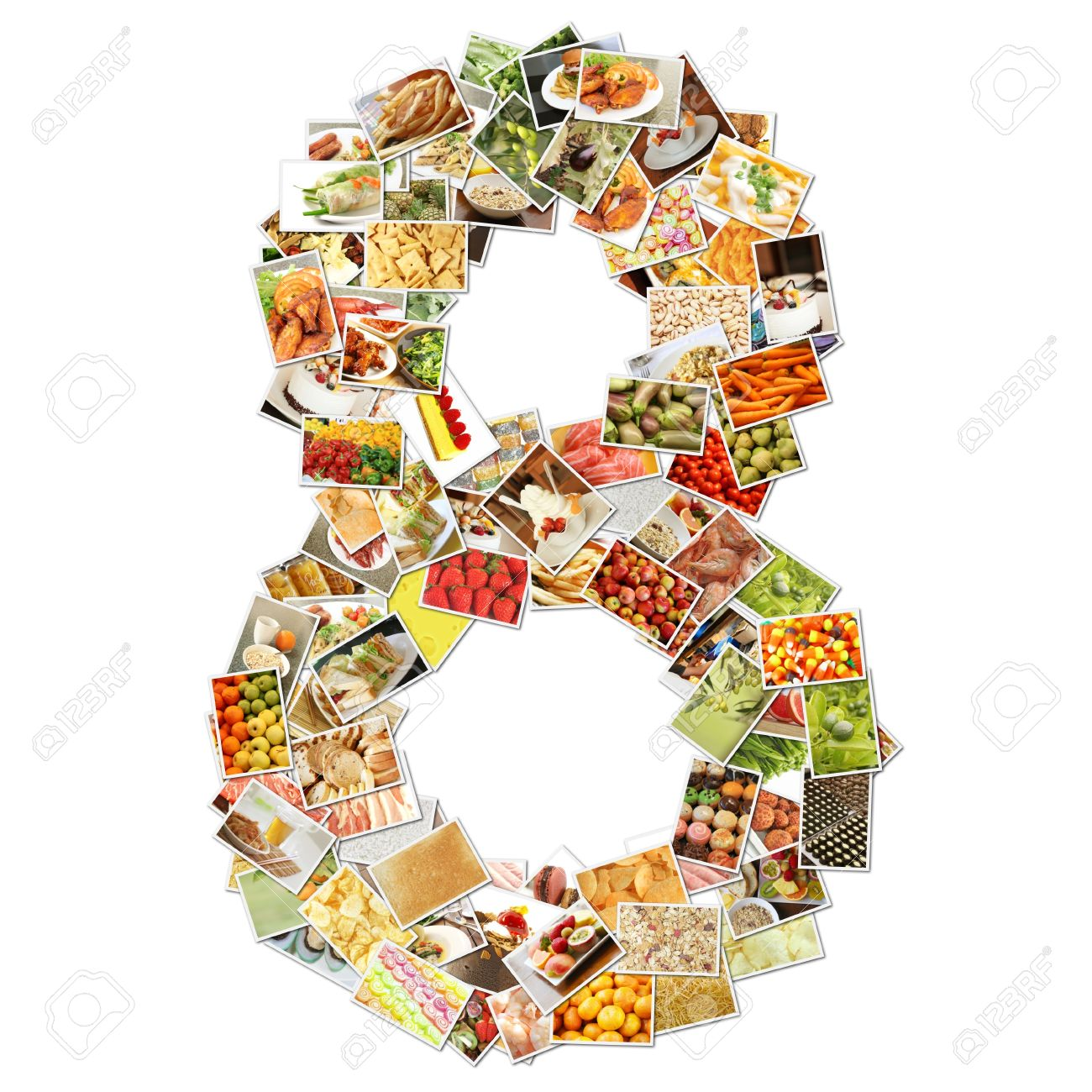 Number 8 Eight with Food Collage Concept Art Stock Photo - 9704311
