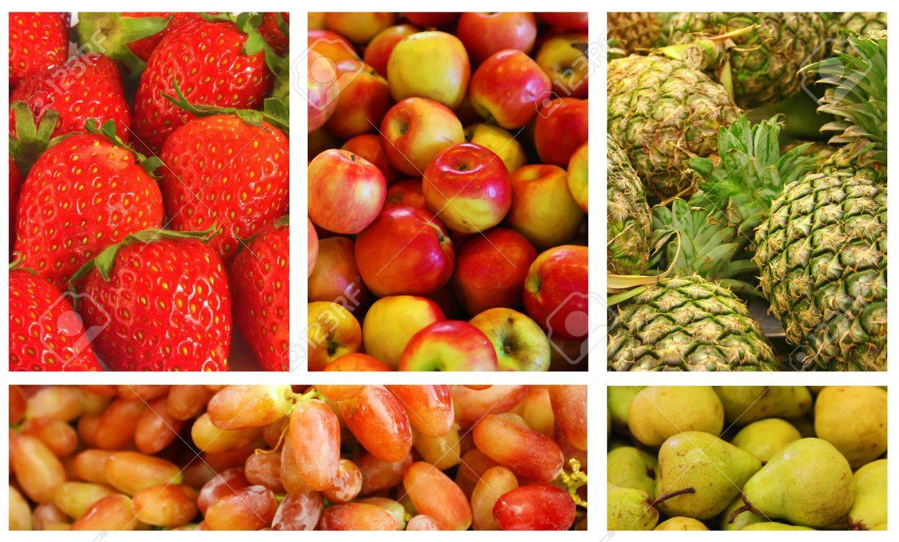 Fruits and Vegetables Variety and Choice Collage Stock Photo - 9884312