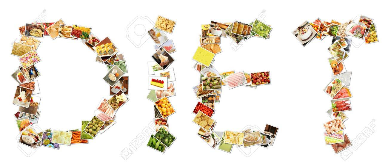 Healthy Diet Collage of Fruits and Weight Loss Stock Photo - 12437371