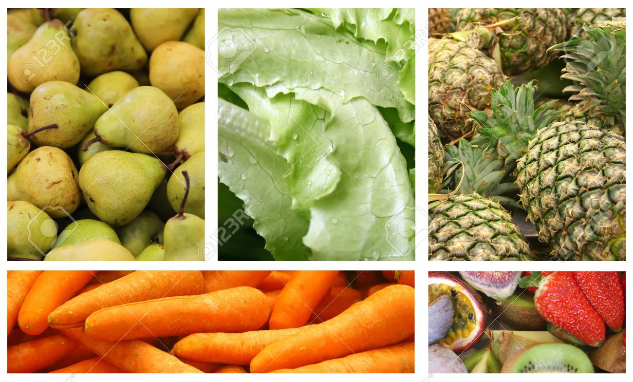 Fruits and Vegetables Variety and Choice Collage Stock Photo - 12437286