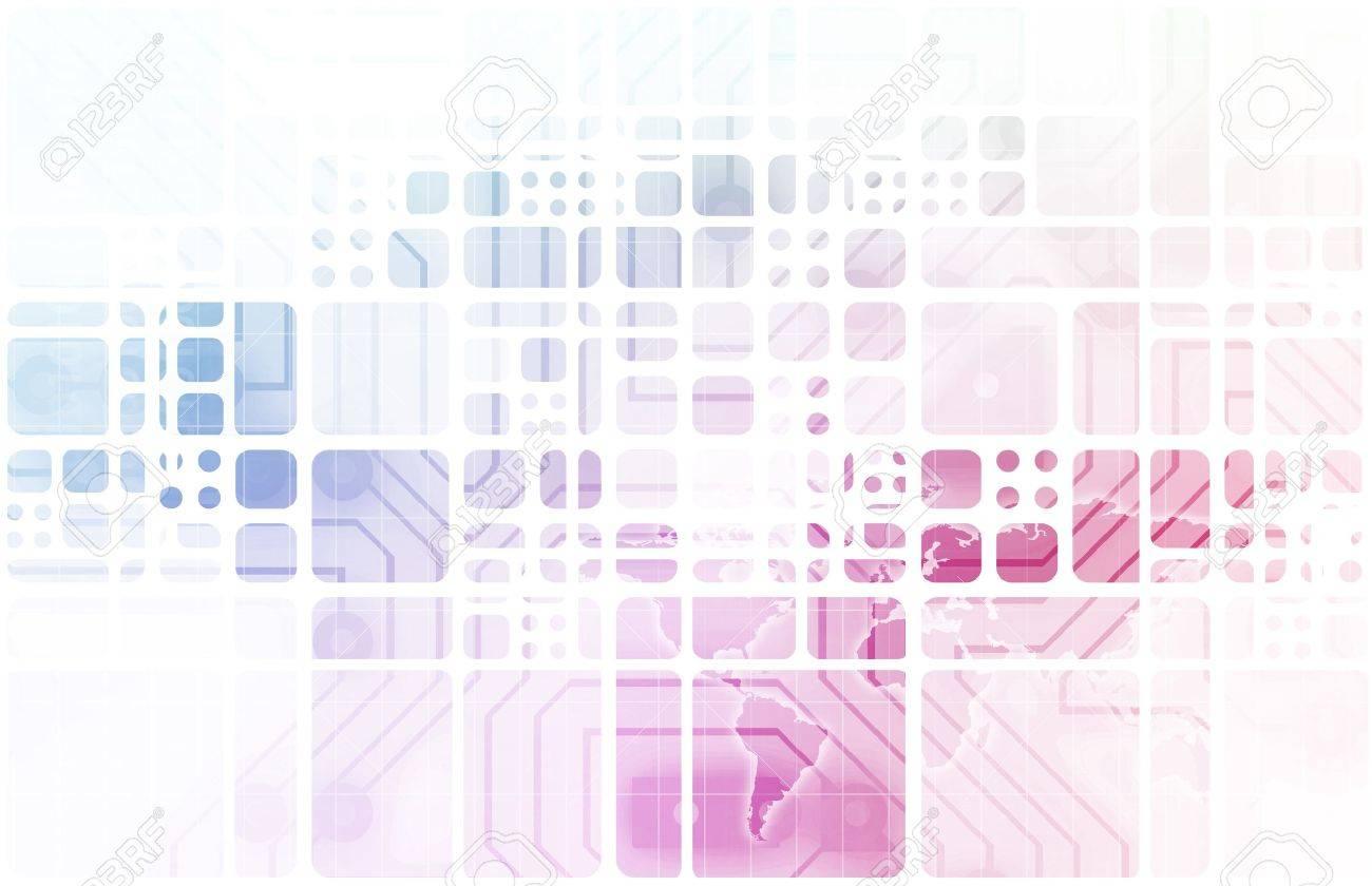 Virtual Technology with Data Network Stream Art Stock Photo - 19290164