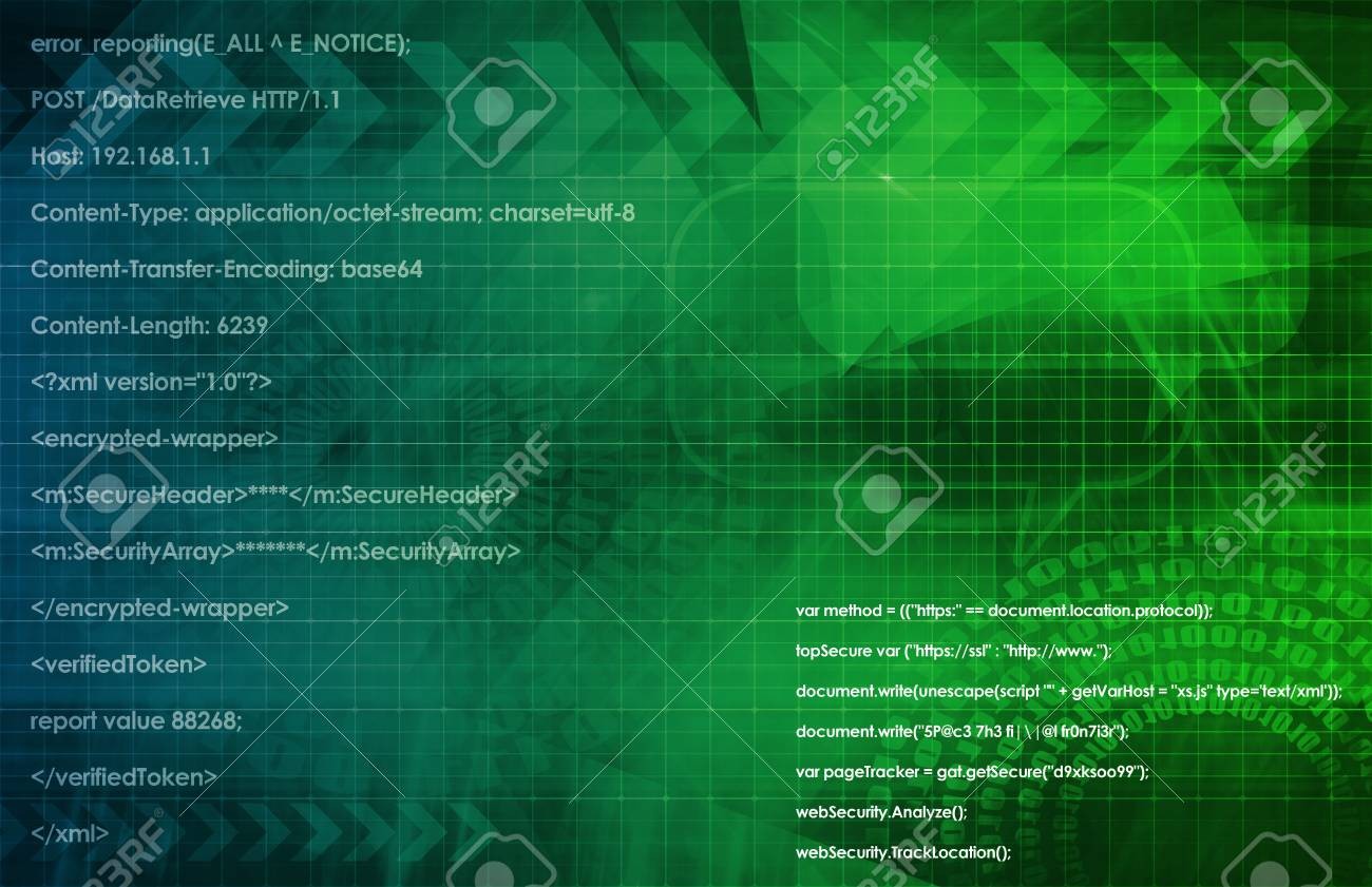 System Software Program with Running Code Script Stock Photo - 21914260
