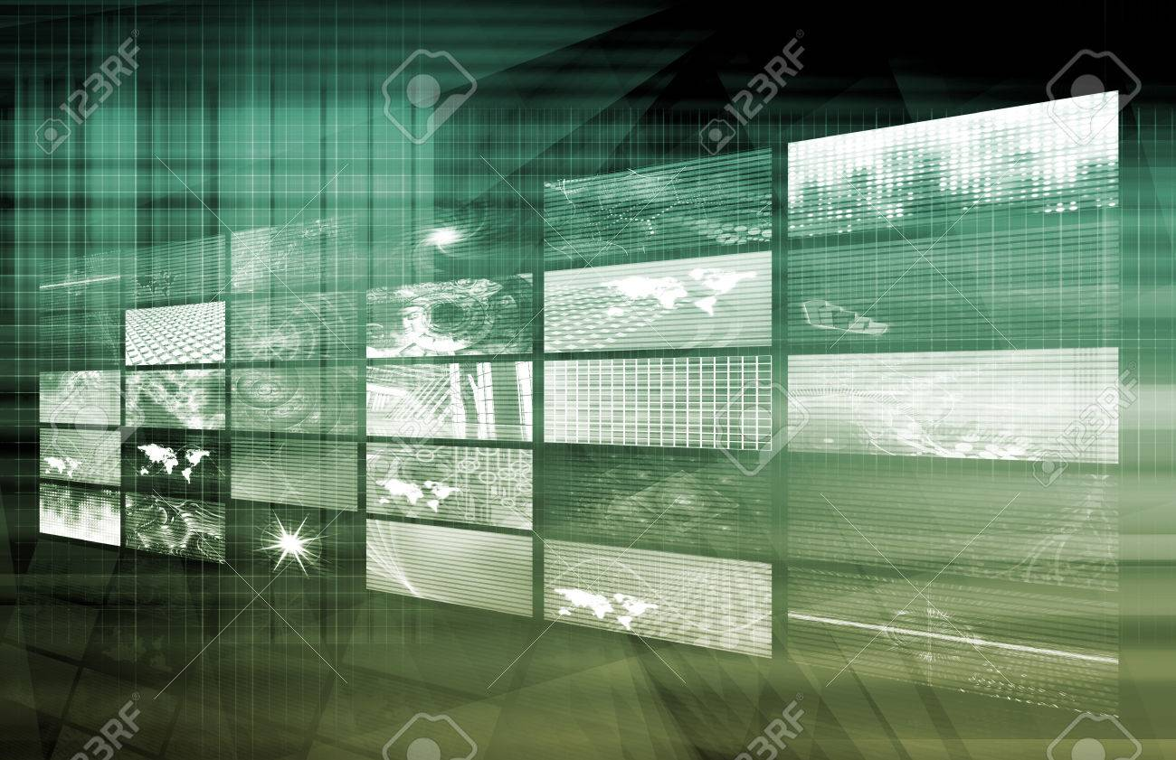 Media Telecommunications Concept with Video Wall Art Standard-Bild - 24297460