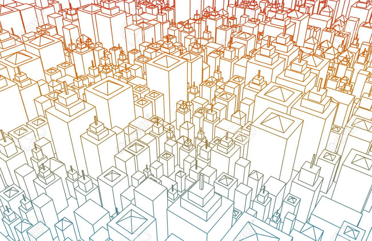 Wireframe city with buildings and blueprint design art stock photo stock photo wireframe city with buildings and blueprint design art malvernweather Images