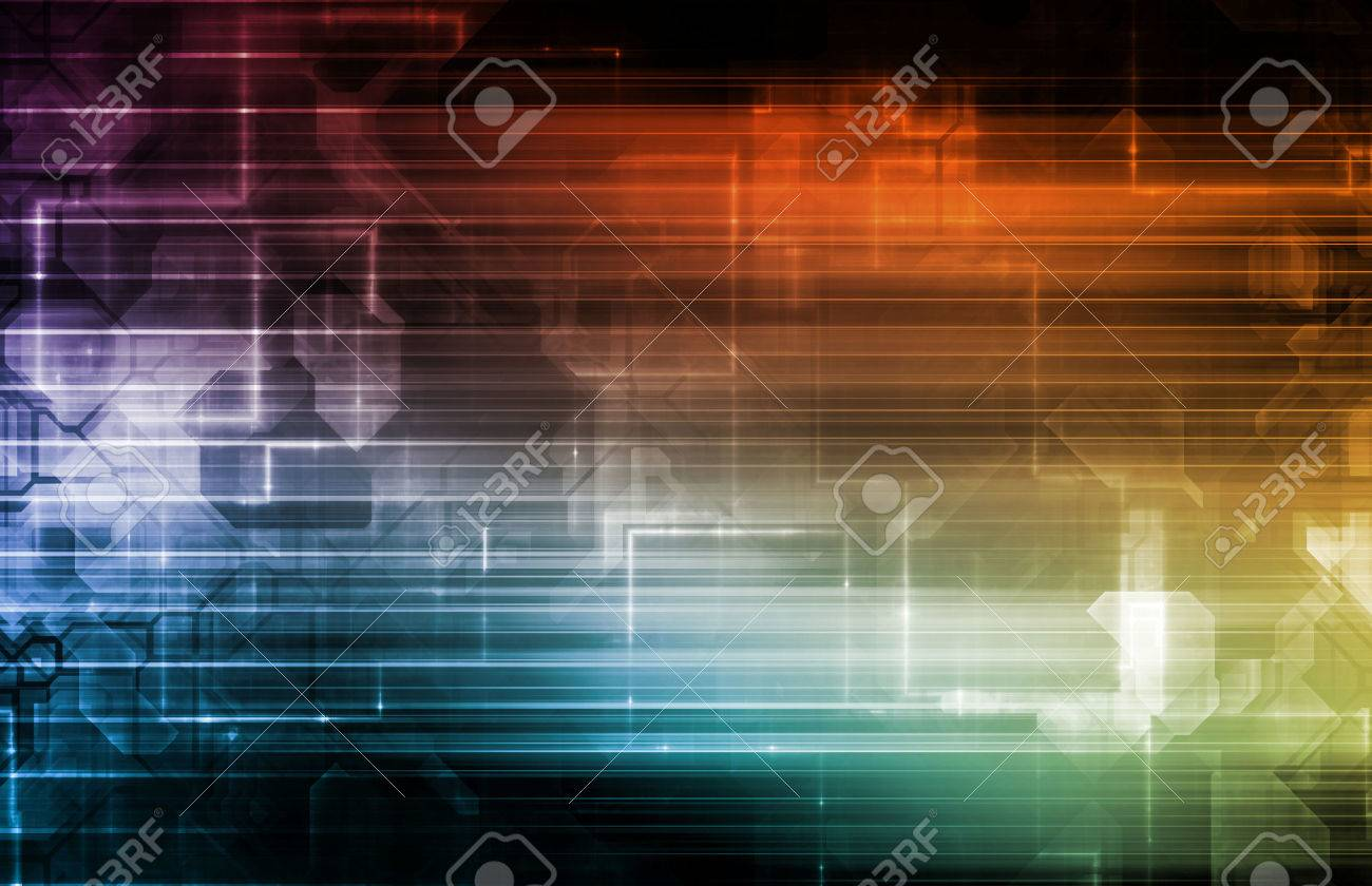 Science Background With Glowing Techno Lines Art Standard-Bild - 44029280