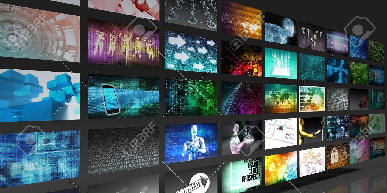 Video Screens Abstract Background for Multimedia Concept Standard-Bild - 48933216