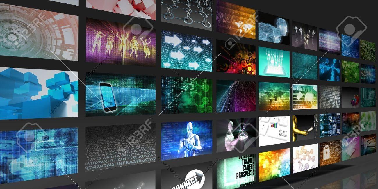 Video Screens Zusammenfassung Hintergrund für Multimedia-Konzept Standard-Bild - 48933216