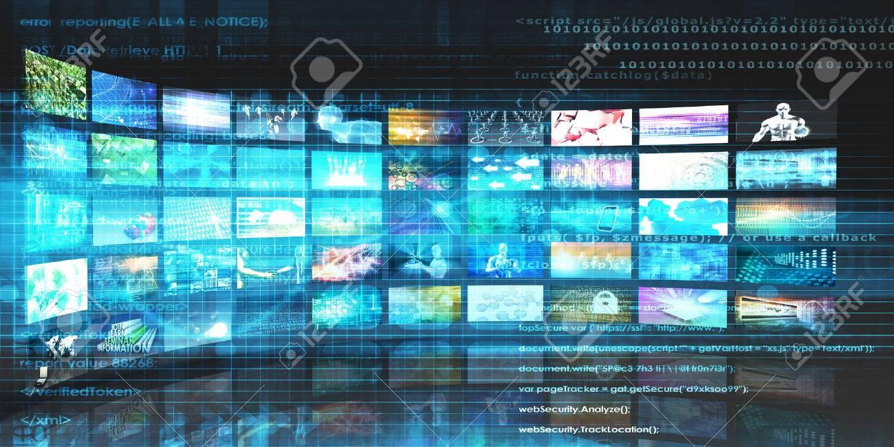 Media Technologies Concept as a Video Wall Background Standard-Bild - 50001871