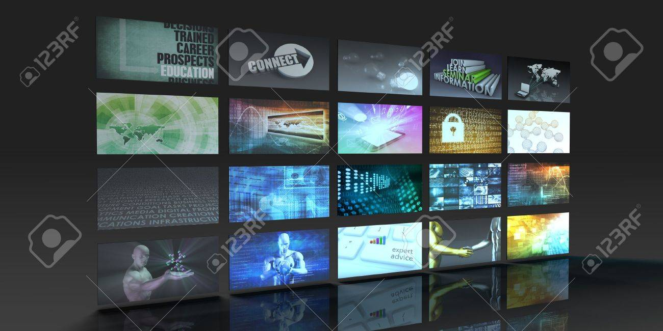 Television Production Technology Concept with Video Wall Standard-Bild - 51542673