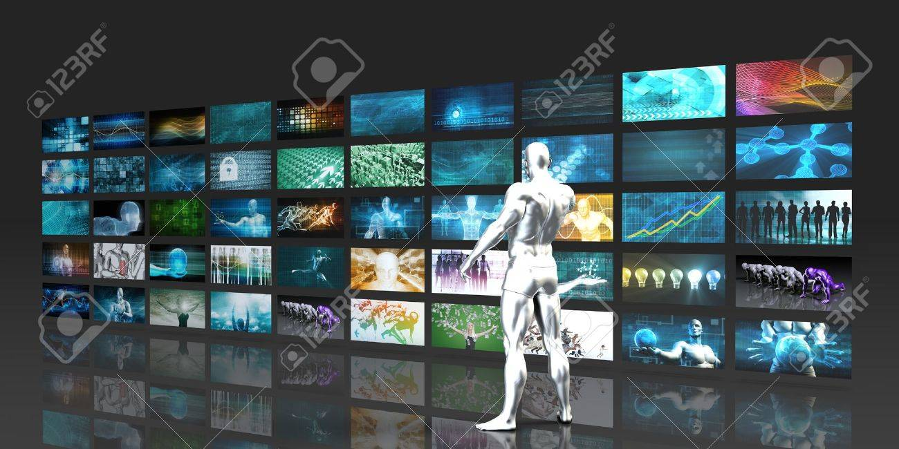 Man Looking into Video Wall Screens in 3d Standard-Bild - 53097012