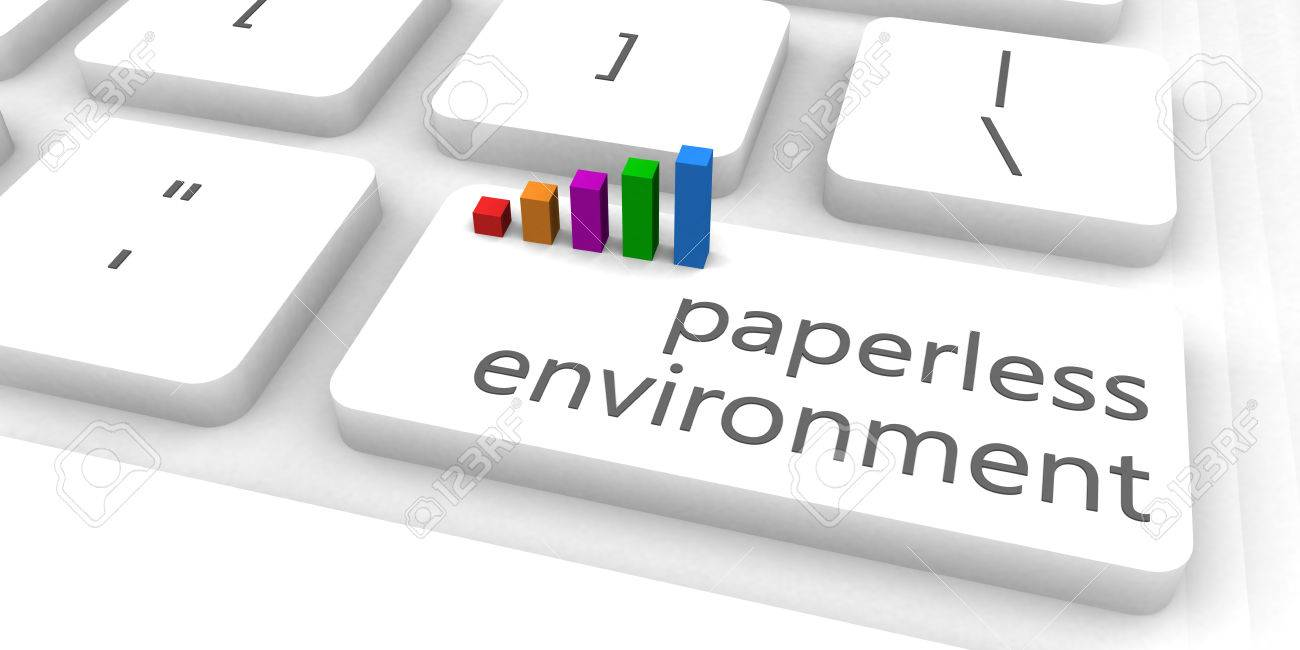 Paperless Environment As A Fast And Easy Website Concept Stock ...