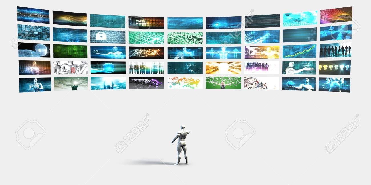 Entertainment Background with Wall of Videos and Screens or Tvs - 64749562