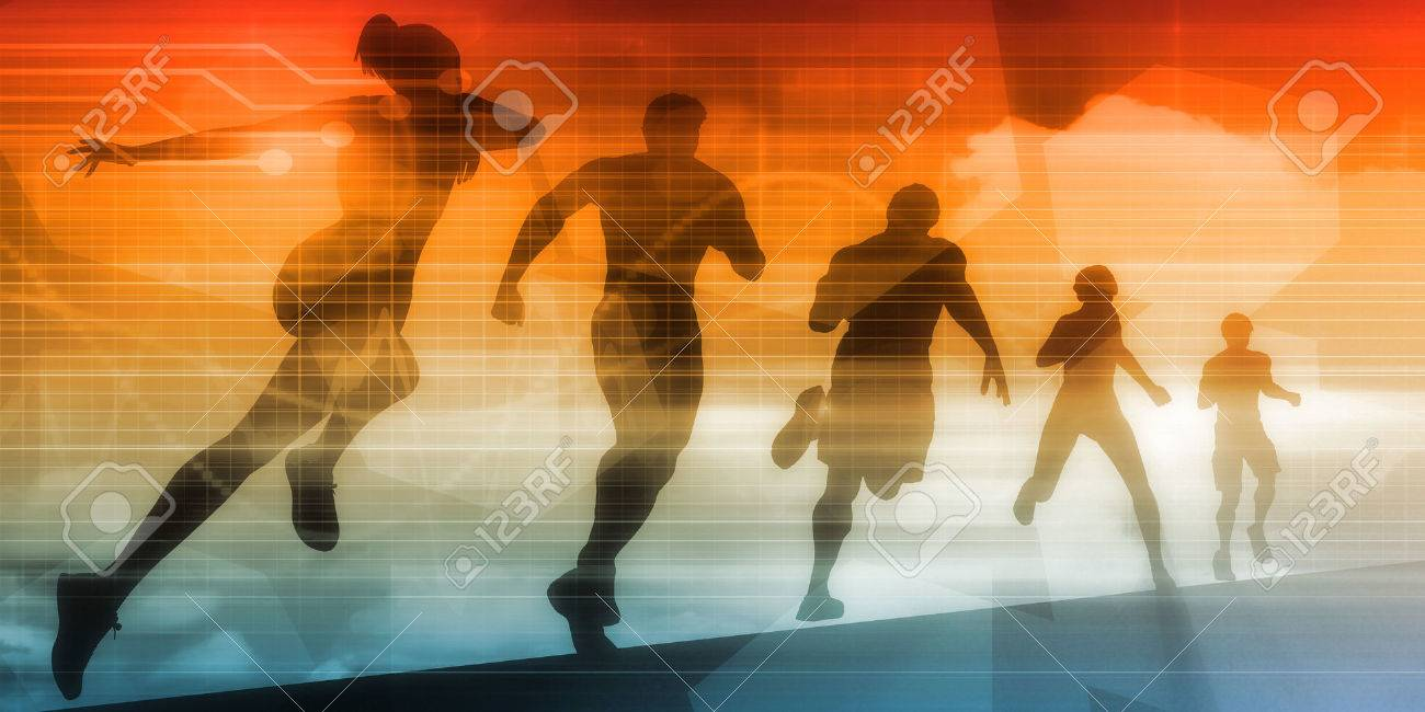 Sports Background Illustration Concept with Running People Standard-Bild - 64805922