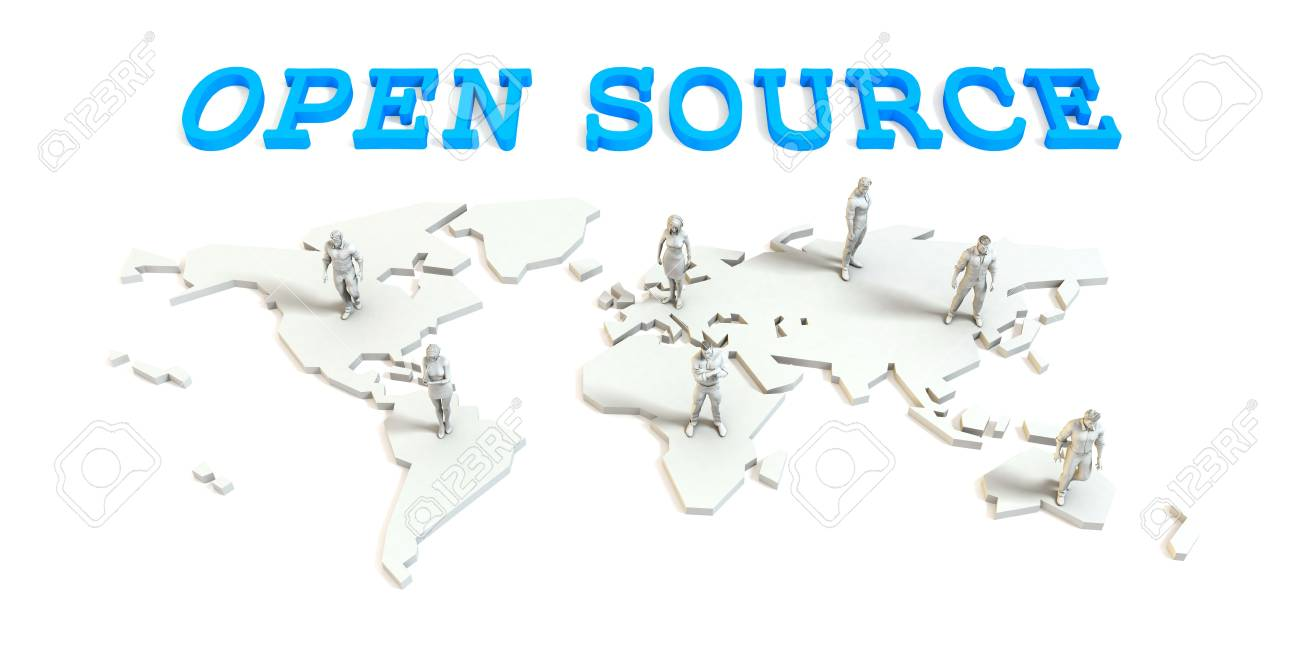 Open source Global Business Abstract with People Standing on