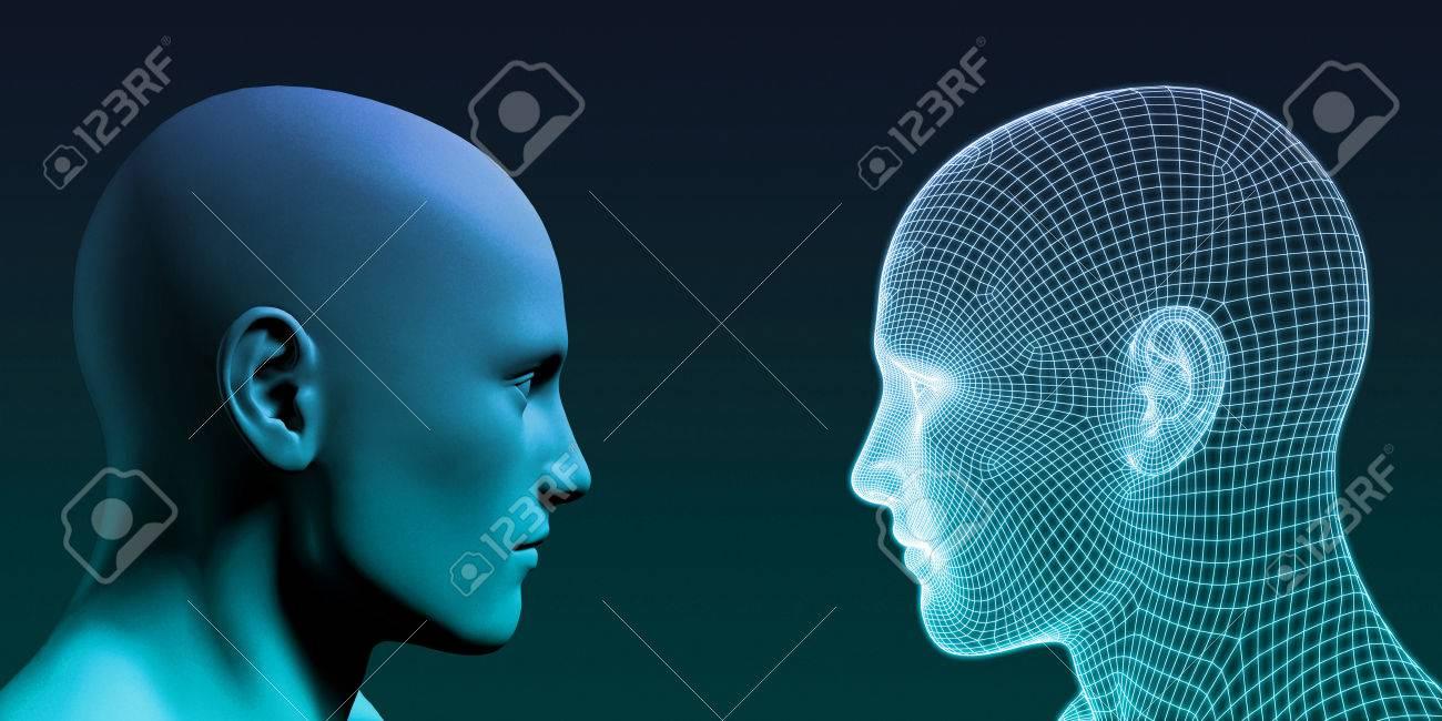 Man vs Machine Competing in the Future Standard-Bild - 80157709