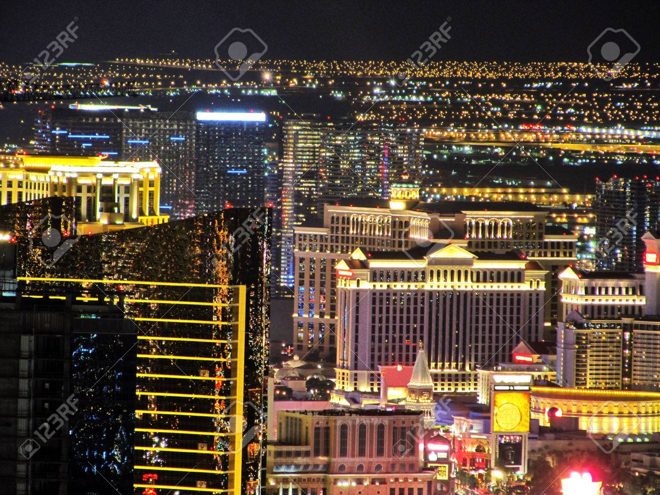 The Strip Of Las Vegas Hotels Aerial Night View Without Hotels