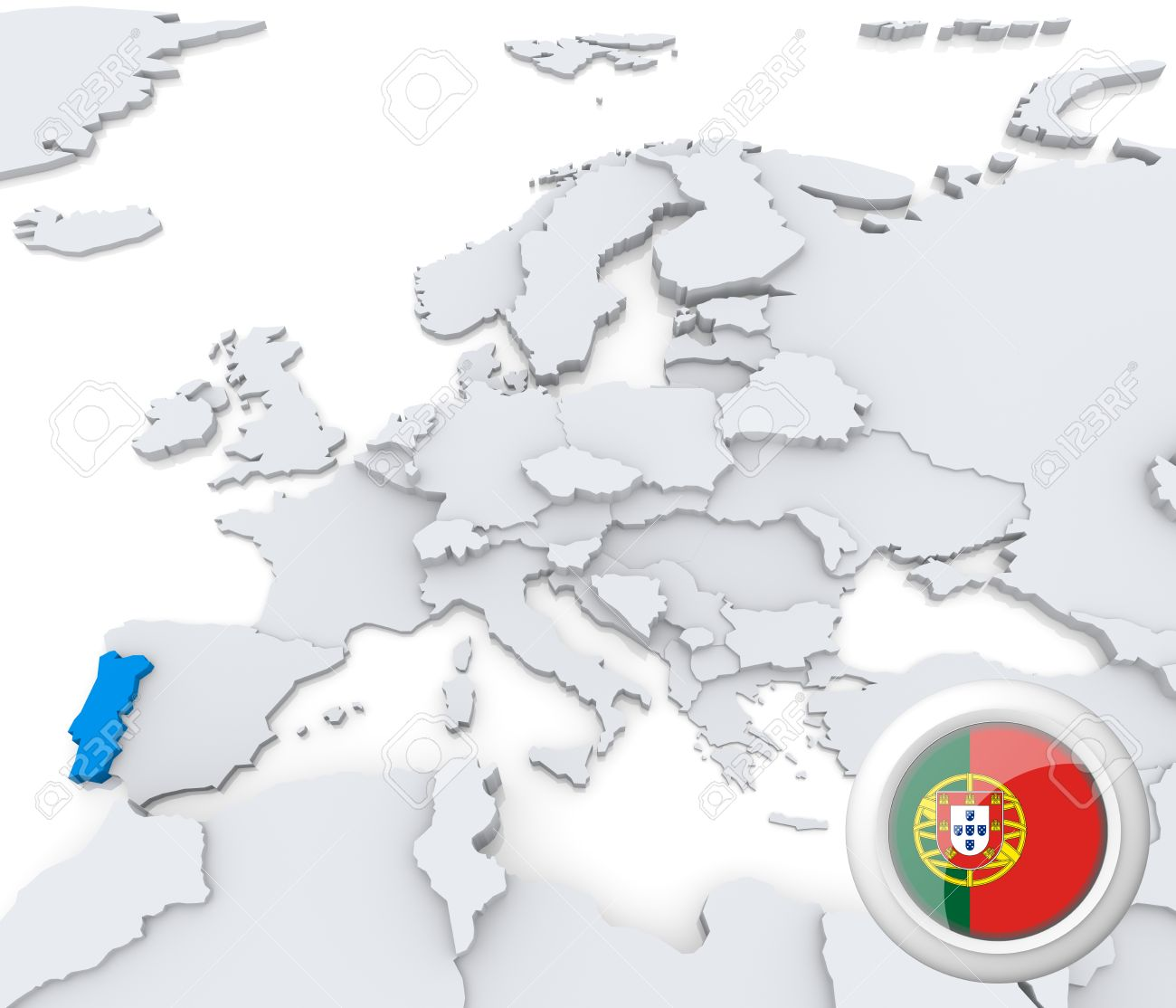 Highlighted Portugal On Map Of Europe With National Flag Stock Photo