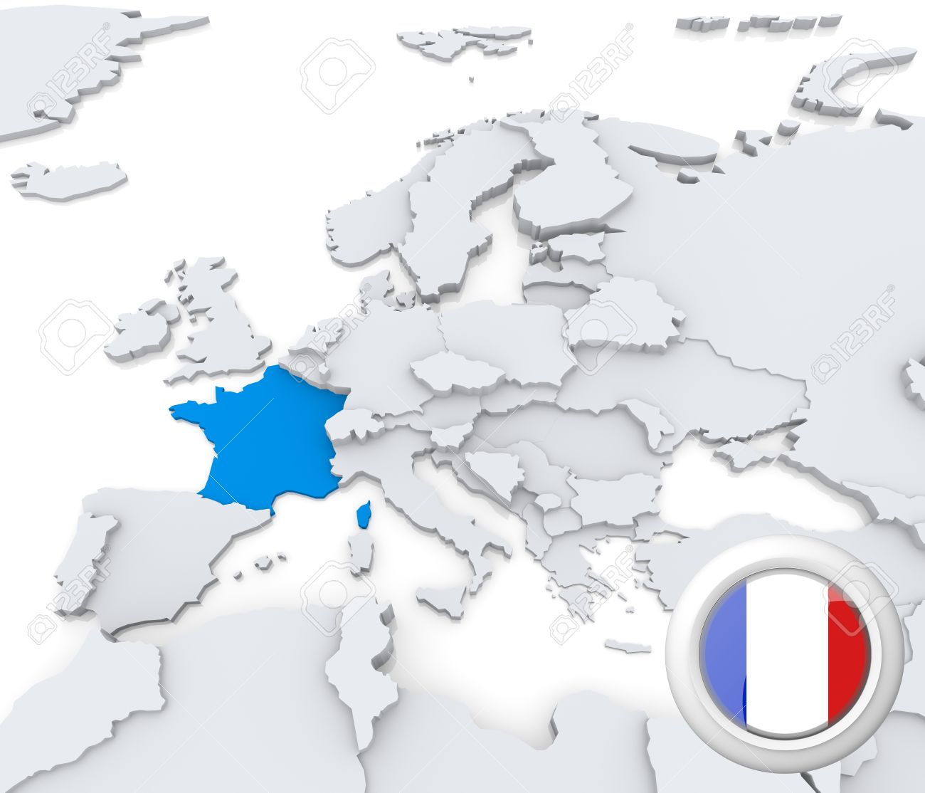 Map Of Europe With France Highlighted.Highlighted France On Map Of Europe With National Flag