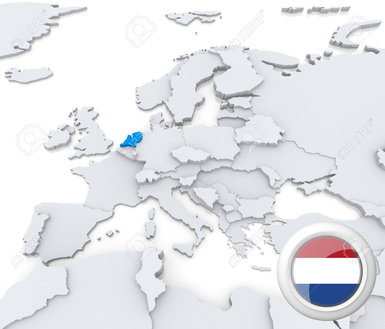 highlighted netherlands on map of europe with national flag stock