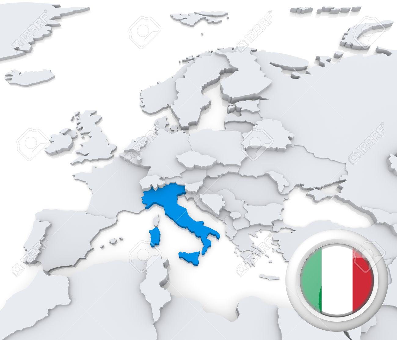 Carte Italie Europe.Mis En Evidence L Italie Sur La Carte De L Europe Avec Le Drapeau National