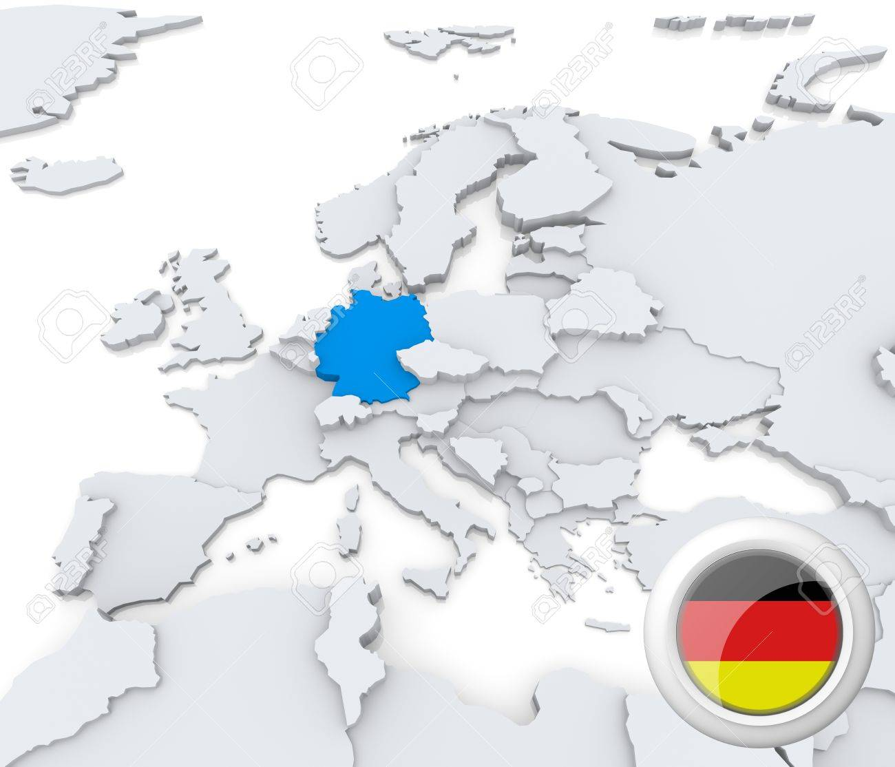 Highlighted Germany On Map Of Europe With National Flag Stock Photo