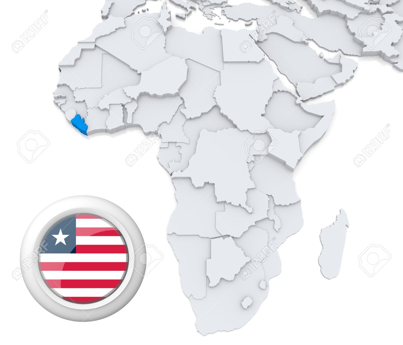 Image of: 3d Modeled Map Of Africa With Highlighted State Of Liberia With Stock Photo Picture And Royalty Free Image Image 21165848