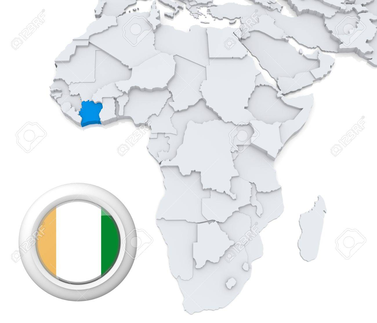 D Modeled Map Of Africa With Highlighted State Of Ivory Coast - Ivory coast map of africa