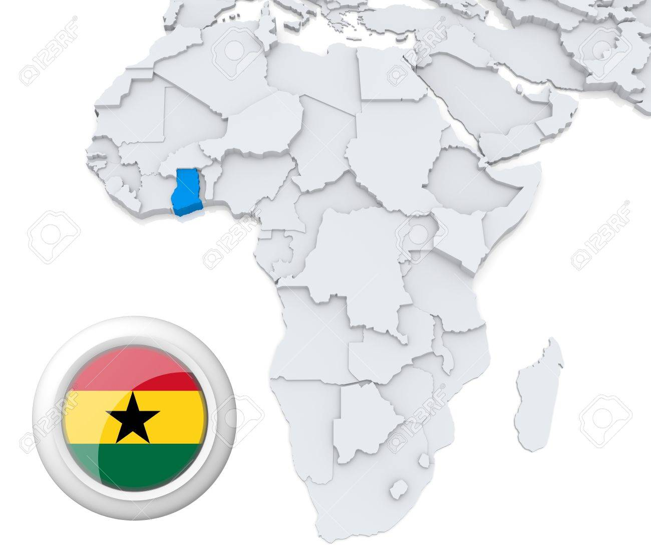 Ghana Karte Afrika.3d Modeled Map Of Africa With Highlighted State Of Ghana With