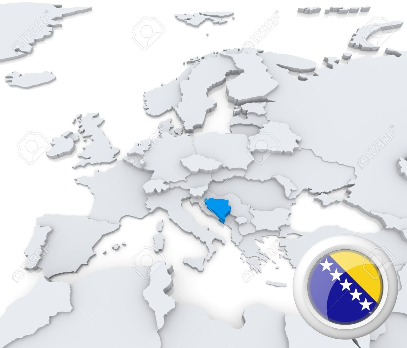 Highlighted Bosnia And Herzegovina On Map Of Europe With National