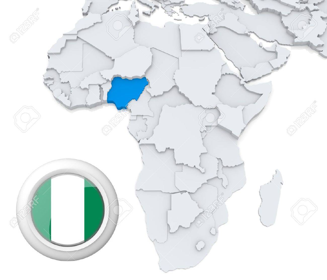 Map Of Africa Showing Nigeria.3d Modeled Map Of Africa With Highlighted State Of Nigeria With
