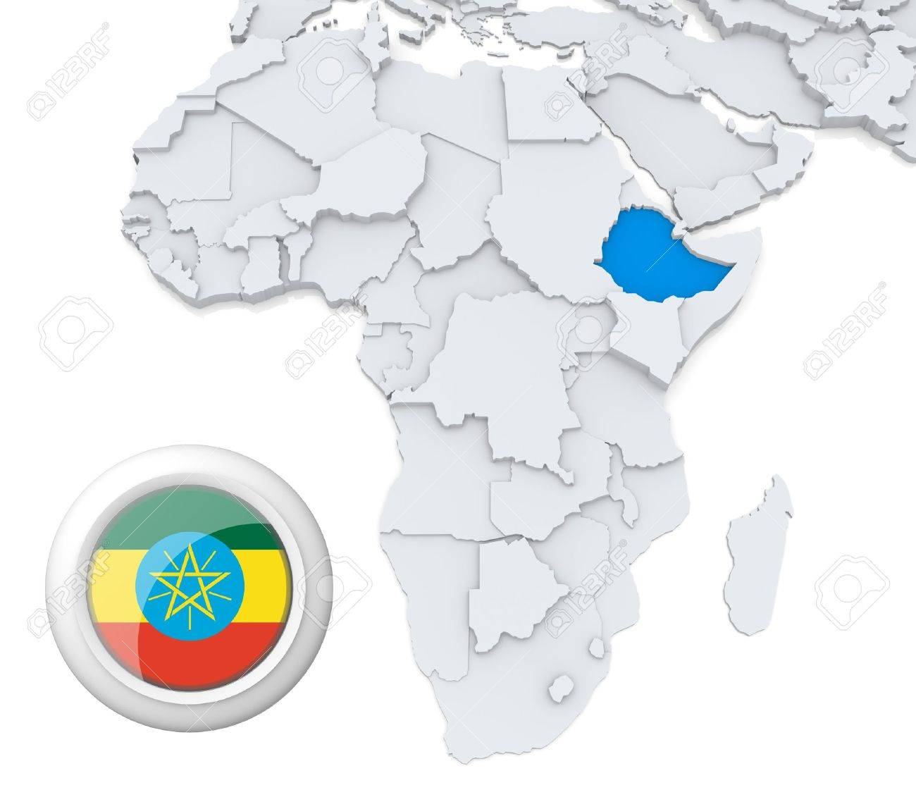 3d modeled map of africa with highlighted state of ethiopia with 3d modeled map of africa with highlighted state of ethiopia with national flag stock photo sciox Gallery