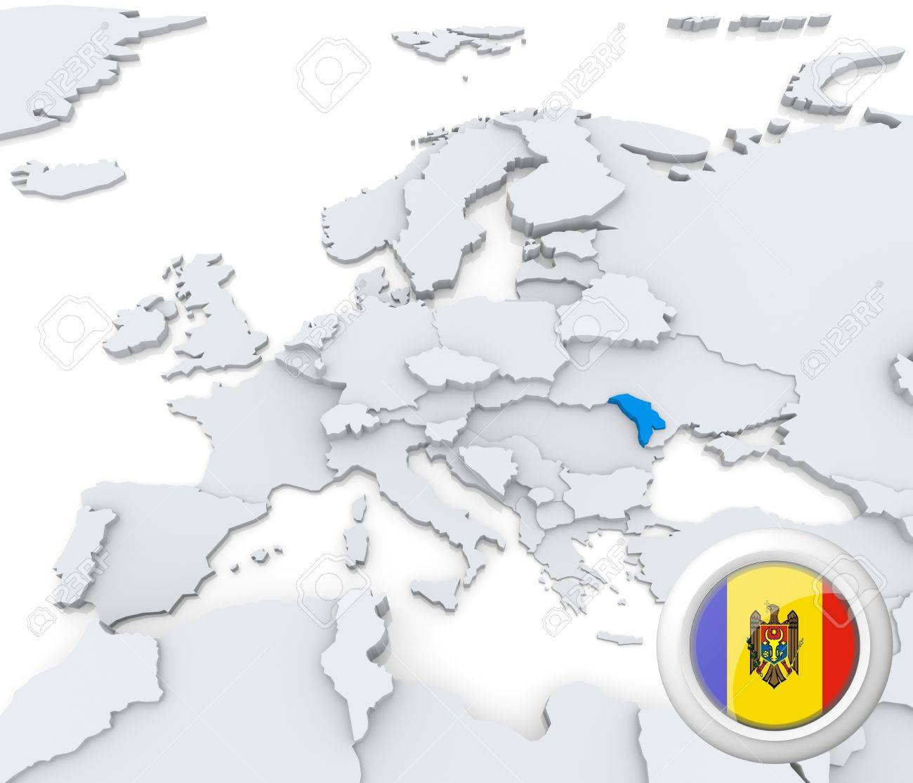 Highlighted Moldova On Map Of Europe With National Flag Stock Photo