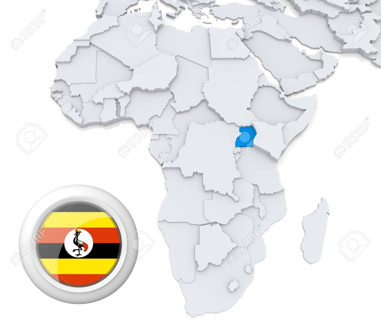 3D Modeled Map Of Africa With Highlighted State Of Uganda With