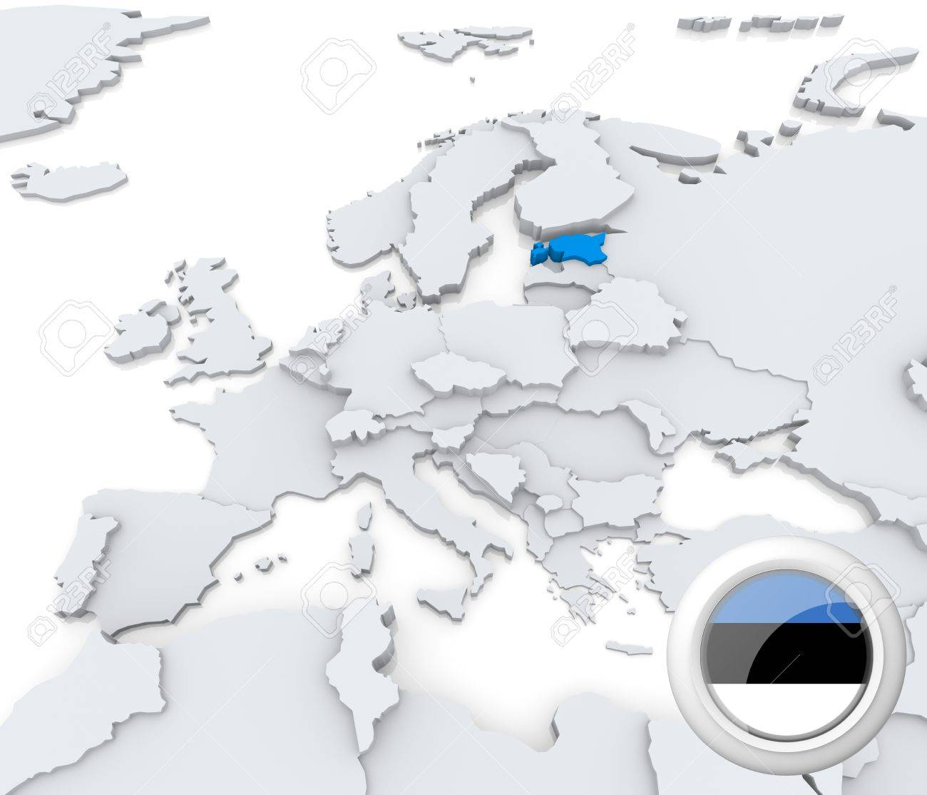 highlighted estonia on map of europe with national flag stock photo 21165894
