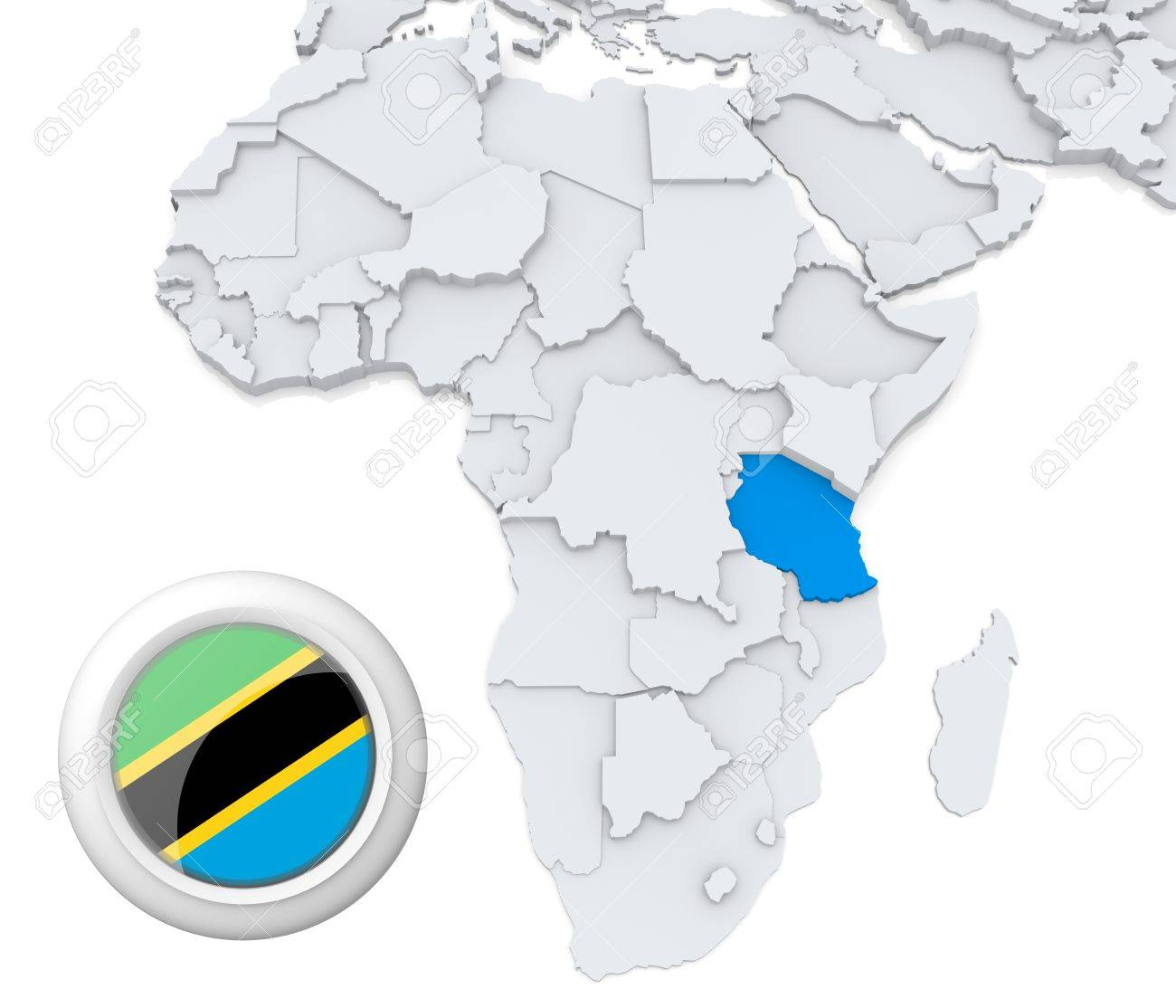 3D Modeled Map Of Africa With Highlighted State Of Tanzania With